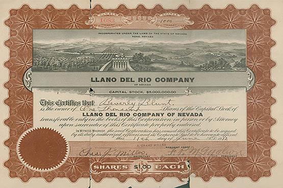 Llano del Rio shareholder certifcate.
