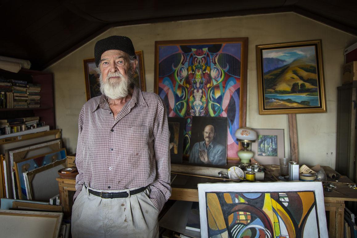 Painter John Hamilton in his studio. Photo: Kim Stringfellow.